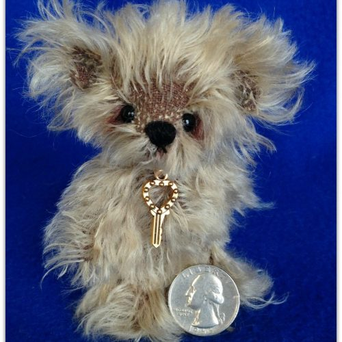 Fuzz: one of a kind miniature mohair artist teddy bear