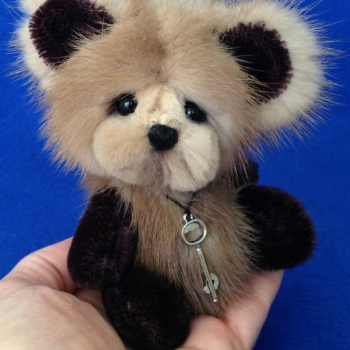 Puff - Mink fur artist bear by Laura Lynn - 1
